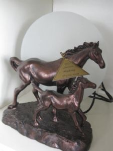 Bronze Mare and Foal Back Light Lamp from the Juliana Collection